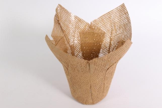 Кашпо из бумажной сетки Натуральное (внутри пленка) d=12см 8216