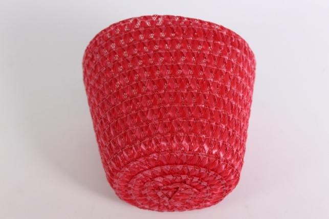 Кашпо пластик Красный (внутри пленка) d=12см  11739