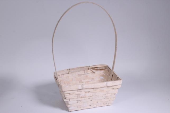 Корзина плетеная (бамбук) белая квадрат 1шт - Код 7059