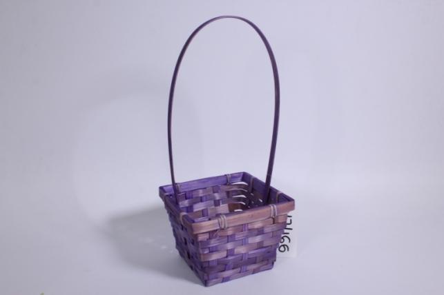 Корзина плетеная (бамбук) фиолетовая квадрат 1шт - Код 2090