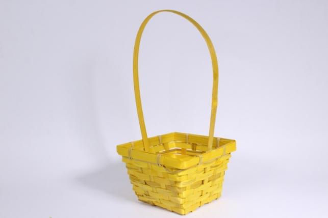 Корзина плетеная (бамбук) желтая квадрат 1шт - Код 7158