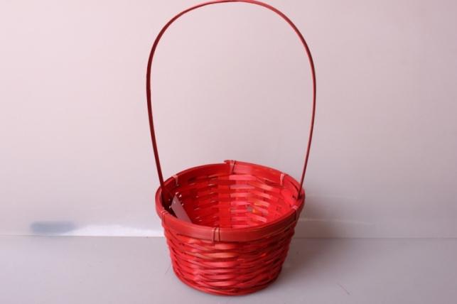 Корзина плетеная (бамбук) красная d=17, h=10,5/33см 6939