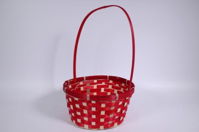 Корзина плетеная (бамбук) красная (Код 5436)