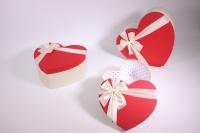 Набор подарочных коробок из 3 шт Сердце красная крышка
