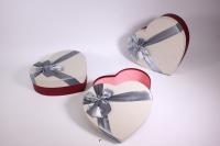 Набор подарочных коробок из 3 шт Сердце серая крышка