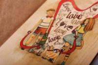 открытка+конверт 15х10,5 - love (деревянный шпон)