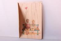 открытка+конверт 15х10,5см - скамейка (деревянный шпон)