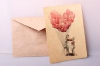 открытка+конверт 15х10,5см - зебры с шариками (деревянный шпон)