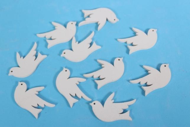 Птичка декоративная - Голуби белые 4см (10шт в уп) - Код 9341
