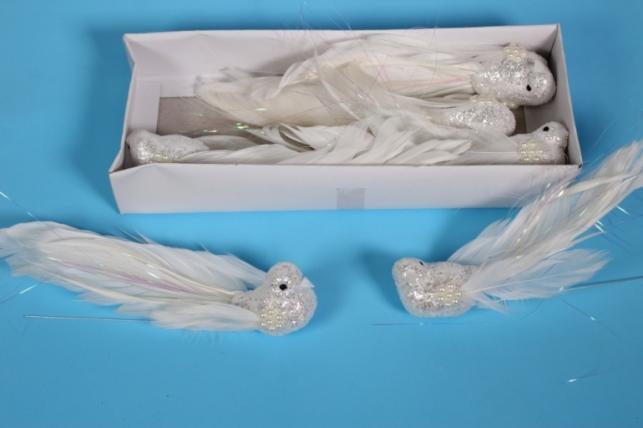 Птичка декоративная - Голуби с жемчугом (6шт) - Код 4061