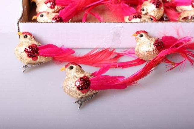 Птичка красная с золотом (12шт в уп)